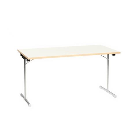 Table pliante 150x75 chrome/gris-blanc